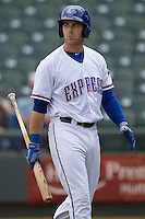 Round Rock Express third baseman Mike Olt #20 during the game against the New Orleans Zephyrs in the Pacific Coast League baseball game on April 21, 2013 at the Dell Diamond in Round Rock, Texas. Round Rock defeated New Orleans 7-1. (Andrew Woolley/Four Seam Images).