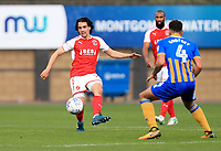 Markus Schwabl of Fleetwood Town wins the ball during the Sky Bet League 1 match between Shrewsbury Town and Fleetwood Town at Greenhous Meadow, Shrewsbury, England on 21 October 2017. Photo by Leila Coker / PRiME Media Images.