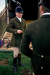 'DUKE OF BEAUFORT HUNT', CAPTAIN IAN FARQUHAR TALKING WITH FELLOW HUNT MEMBER