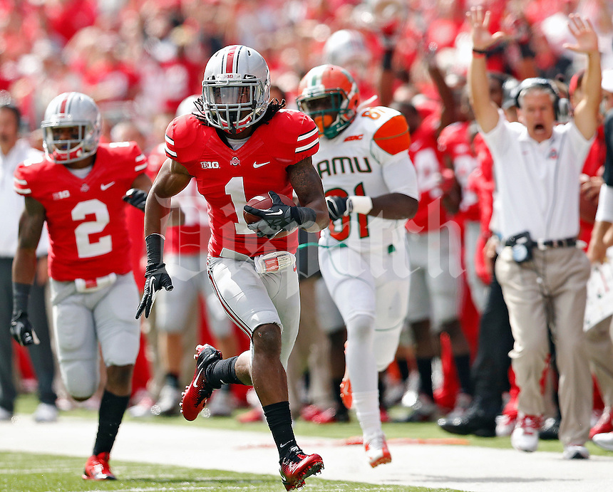 Ohio State Buckeyes cornerback Bradley Roby (1) returns a interception against Florida A&M Rattlers in the 1st quarter during their college football game at Ohio Stadium on September 21, 2013.  (Dispatch photo by Kyle Robertson)