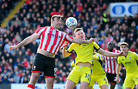Lincoln City's Matt Rhead vies for possession with Cheltenham Town's William Boyle<br /> <br /> Photographer Andrew Vaughan/CameraSport<br /> <br /> The EFL Sky Bet League Two - Lincoln City v Cheltenham Town - Saturday 13th April 2019 - Sincil Bank - Lincoln<br /> <br /> World Copyright © 2019 CameraSport. All rights reserved. 43 Linden Ave. Countesthorpe. Leicester. England. LE8 5PG - Tel: +44 (0) 116 277 4147 - admin@camerasport.com - www.camerasport.com