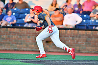 Johnson City Cardinals third baseman Nolan Gorman (4) runs to fist base during a game against the Pulaski Yankees at TVA Credit Union Ballpark on July 7, 2018 in Johnson City, Tennessee. The Cardinals defeated the Yankees 7-3. (Tony Farlow/Four Seam Images)