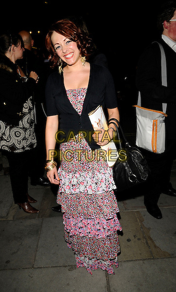 "SARAH CAWOOD.The ""Never Forget"" gala night afterparty, 1 The piazza, Covent garden, London, England..May 22nd, 2008.after party sara full length pink dress layers layered ruffles floral print black jacket .CAP/CAN.©Can Nguyen/Capital Pictures."