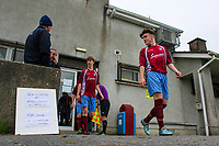 Aaron Connolly (At age 15) of Mervue United U17 leaves the clubhouse at Fahy's Field before the game.<br /> <br /> Mervue United v Longford Town, U17 SSE Airtricity League, 19/9/15, Fahy's Field, Mervue, Galway.