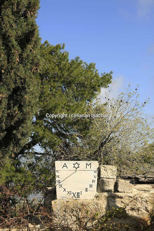 Israel, Jezreel valley. A sun clock at the garden in front of the Franciscan Church of the Transfiguration on Mount Tabor