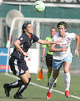 Allie Krieger #27 of Washington Freedom goes for the ball with Megan Rapinoe #8 of the Chicago Red Stars during a WPS match at RFK stadium on June 13 2009 in Washington D.C. The game ended in a 0-0 tie.