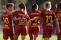 Annamaria Serturini of AS Roma  (2L) celebrates with team mates Manuela Giugliano and Amalie Thestrup after scoring the goal of 1-2 <br /> Roma 8/9/2019 Stadio Tre Fontane <br /> Luisa Petrucci Trophy 2019<br /> AS Roma - Paris Saint Germain<br /> Photo Andrea Staccioli / Insidefoto