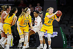 SIOUX FALLS, SD - MARCH 8: Rylee Nudell #21 of the North Dakota State Bison recovers a rebound against Denver Pioneers at the 2020 Summit League Basketball Championship in Sioux Falls, SD. (Photo by Richard Carlson/Inertia)
