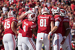 Wisconsin Badgers teammates celebrate a touchdown during an NCAA Big Ten Conference football game against the Maryland Terrapins Saturday, October 21, 2017, in Madison, Wis. The Badgers won 38-13. (Photo by David Stluka)