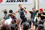 """July 23, 2017, Chiba, Japan - Members of Japanese pop group """"The Rampage from Exile Tribe"""" perform at a promotional event of Paralympic sports at a shopping mall in Chiba, suburban Tokyo on Sunday, July 23, 2017. People try to play Paralympic sports such as wheelchair basketball and wheelchair rugby with Paralympic athletes at the event sponsored by Japan Airlines (JAL).   (Photo by Yoshio Tsunoda/AFLO) LwX -ytd-"""