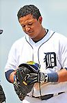 9 March 2011: Detroit Tigers' first baseman Miguel Cabrera stands at first base between innings of a Spring Training game against the Philadelphia Phillies at Joker Marchant Stadium in Lakeland, Florida. The Phillies defeated the Tigers 5-3 in Grapefruit League play. Mandatory Credit: Ed Wolfstein Photo