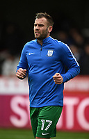Preston's Tommy Spurr during the pre-match warm-up <br /> <br /> Photographer Jonathan Hobley/CameraSport<br /> <br /> The EFL Sky Bet Championship - Brentford v Preston North End - Saturday 10th February 2018 - Griffin Park - Brentford<br /> <br /> World Copyright &copy; 2018 CameraSport. All rights reserved. 43 Linden Ave. Countesthorpe. Leicester. England. LE8 5PG - Tel: +44 (0) 116 277 4147 - admin@camerasport.com - www.camerasport.com