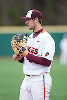 Virginia Tech Hokies first baseman Brendon Hayden (34) on defense against the Toledo Rockets at The Ripken Experience on February 28, 2015 in Myrtle Beach, South Carolina.  The Hokies defeated the Rockets 1-0 in 10 innings.  (Brian Westerholt/Four Seam Images)