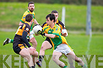 Finige's Keefer Roche tries to get away from Austin Stacks, Pa McCarthy and David Mannix in the  Senior Co. League Div. 1 Rd. 3 -  Finuge 1-5 v Austin Stacks 1-13 on Sunday at  James O'Sullivan Park Finuge