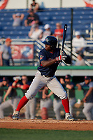 Lowell Spinners Gilberto Jimenez (32) at bat during a NY-Penn League game against the Batavia Muckdogs on July 10, 2019 at Dwyer Stadium in Batavia, New York.  Batavia defeated Lowell 8-6.  (Mike Janes/Four Seam Images)
