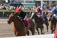 HALLANDALE BEACH, FL - MAR 3:  Fly So High #8 with jockey Jose L Ortiz on board, wins the Davona Dale GII Stakes, at Gulfstream Park on March 3, 2018 in Hallandale Beach, Florida. (Photo by Liz Lamont/Eclipse Sportswire/Getty Images)