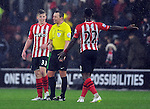 Eljero Elia of Southampton argues with Referee Kevin Friend at the end of the 1st half - Barclays Premier League - Southampton vs Liverpool - St Mary's Stadium - Southampton - England - 22nd February 2015 - Pic Robin Parker/Sportimage