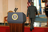 Washington, D.C. - July 16, 2007 -- United States President George Bush departs after making a statement regarding the Middle East in the Cross Hall of the White House on Monday, July 16, 2007.  <br /> Credit: Ken Cedeno - Pool via CNP