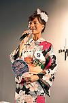 July 27 2012, Tokyo, Japan  The finalist Maki Hayashi speaks at Yukata Beauty Contest in Koichi Festival. Shoko Kondo, one of the 10 finalists of 270 candidates, wins the annual Yukata Beauty Festival at Koichi Festival in Shimbashi, Tokyo. (Photo by Rodrigo Reyes Marin/AFLO)..