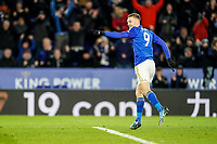 9th March 2020; King Power Stadium, Leicester, Midlands, England; English Premier League Football, Leicester City versus Aston Villa; Jamie Vardy of Leicester City celebrates scoring from the penalty for 2-0 in the 63rd minute