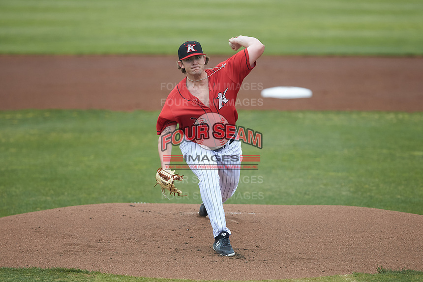 Kannapolis Intimidators starting pitcher Konnor Pilkington (32) in action against the Rome Braves at Kannapolis Intimidators Stadium on April 7, 2019 in Kannapolis, North Carolina. The Intimidators defeated the Braves 2-1. (Brian Westerholt/Four Seam Images)