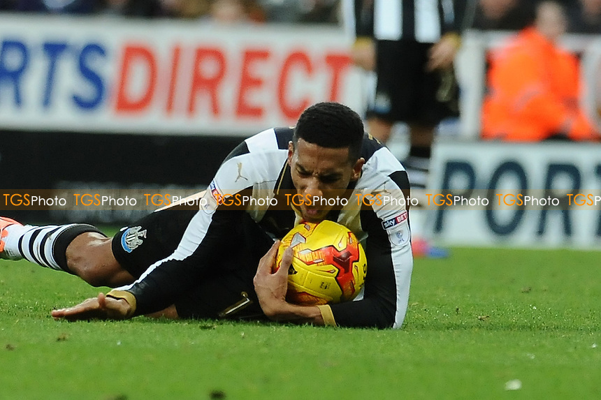 Isaac Hayden of Newcastle United hits the floor in frustration during Newcastle United vs Blackburn Rovers, Sky Bet EFL Championship Football at St. James' Park on 26th November 2016