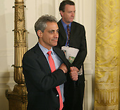 Washington, DC - April 29, 2009 -- White House Chief of Staff Rahm Emanuel awaits the start of a prime time press conference by United States President Barack Obama to mark the first one hundred days of his presidency, Wednesday, April 29, 2009 at The White House in Washington, DC. .Credit: Chris Kleponis - CNP