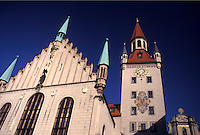 Munich, Germany, Bavaria, Munchen, Europe, Old City Hall in downtown Munich.