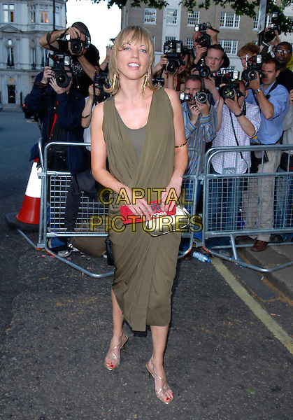 SARA COX .Arrivals at the 4th Annual Glamour Women Of The Year Awards, Berkely Square Gardens, London, England. .June 5th 2007.full length dress green silver gold bag purse grecian style shoes.CAP/FIN.©Steve Finn/Capital Pictures