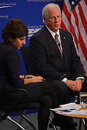 January 14, 2013  (Washington, DC)  Rep. Mike Thompson (D-CA) (right) at a gun violence forum sponsored by the Center for American Progress (CAP) moderated by Neera Tanden (left), CAP President. (Photo by Don Baxter/Media Images International)