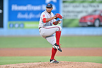 Greenville Drive starting pitcher Darwinzon Hernandez (51) delivers a pitch during a game against the Asheville Tourists at McCormick Field on September 5, 2017 in Asheville, North Carolina. The Tourists defeated the Drive 4-2. (Tony Farlow/Four Seam Images)