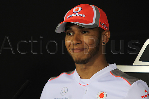 19 04 2012  FIA Formula One World Championship 2012 Grand Prix of Bahrain 4 Lewis Hamilton GBR Vodafone McLaren Mercedes  Bahrain Manama Sakhir press conference