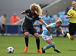 Kheira Hamraoui of Lyon tackles Isobel Christiansen of Manchester City during the Women's Champions League, Semi Final 1st leg match at the Academy Stadium, Manchester. Picture date 22nd April 2018. Picture credit should read: Simon Bellis/Sportimage