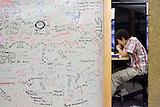 Stanford after dark. Walter Chang, 08 studying organic chemistry at computer lab.