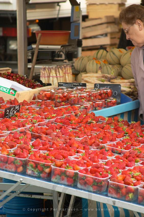 street market strawberries tain l hermitage rhone france