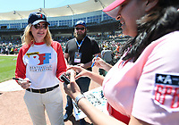 "NWA Democrat-Gazette/J.T. WAMPLER Gina Davis signs autographs Sunday May 7, 2017 during the ""A League of Their Own"" reunion softball game at Arvest Ballpark in Springdale. The event concluded the Bentonville Film Festival."