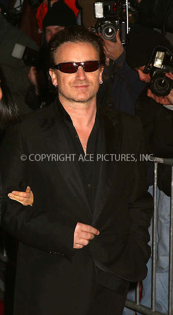 "Bono of U2 arrive at the premiere of ""Gangs of New York."" New York, December 9, 2002. Please byline: Alecsey Boldeskul/NY Photo Press.   ..*PAY-PER-USE*      ....NY Photo Press:  ..phone (646) 267-6913;   ..e-mail: info@nyphotopress.com"
