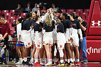 College Park, MD - March 25, 2019: Maryland Terrapins huddle up before second round game of NCAAW Tournament between UCLA and Maryland at Xfinity Center in College Park, MD. UCLA advanced to the Sweet 16 defeating Maryland 85-80. (Photo by Phil Peters/Media Images International)