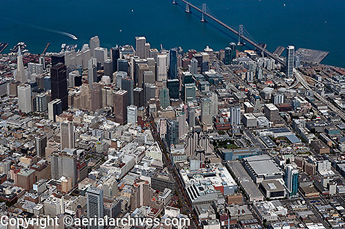 aerial photograph San Francisco mid Market Street and financial district