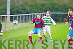 Listowel Celtic's Cormac Mulvihill and Spa Road FC's Kevin Cummingham.