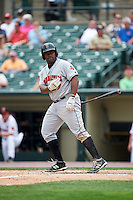Indianapolis Indians designated hitter Jason Rogers (29) during a game against the Rochester Red Wings on May 26, 2016 at Frontier Field in Rochester, New York.  Indianapolis defeated Rochester 5-2.  (Mike Janes/Four Seam Images)