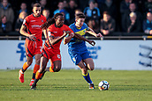 5th November 2017, Damson Park, Solihull, England; FA Cup first round, Solihull Moors versus Wycombe Wanderers; Sean St Ledger of Solihull Moors and Marcus Bean of Wycombe Wanderers compete for the ball
