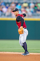 Scranton/Wilkes-Barre RailRiders second baseman Rob Refsnyder (13) makes a throw to first base against the Charlotte Knights at BB&T Ballpark on July 17, 2014 in Charlotte, North Carolina.  The Knights defeated the RailRiders 9-5.  (Brian Westerholt/Four Seam Images)