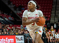 COLLEGE PARK, MD - FEBRUARY 13: Kaila Charles #5 of Maryland charges up court during a game between Iowa and Maryland at Xfinity Center on February 13, 2020 in College Park, Maryland.