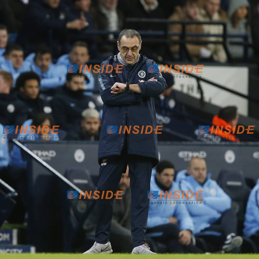 Maurizio Sarri manager of Chelsea looks at his watchduring the Premier League match at the Etihad Stadium, Manchester. Picture date: 10th February 2019. Picture credit should read: Andrew Yates/Sportimage/Imago/Insidefoto PUBLICATIONxNOTxINxUK _AY29585.JPG<br /> ITALY ONLY
