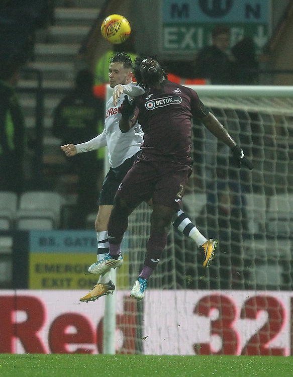 Preston North End's Alan Browne jumps with Swansea City's Nathan Dyer<br /> <br /> Photographer Mick Walker/CameraSport<br /> <br /> The EFL Sky Bet Championship - Preston North End v Swansea City - Saturday 12th January 2019 - Deepdale Stadium - Preston<br /> <br /> World Copyright © 2019 CameraSport. All rights reserved. 43 Linden Ave. Countesthorpe. Leicester. England. LE8 5PG - Tel: +44 (0) 116 277 4147 - admin@camerasport.com - www.camerasport.com