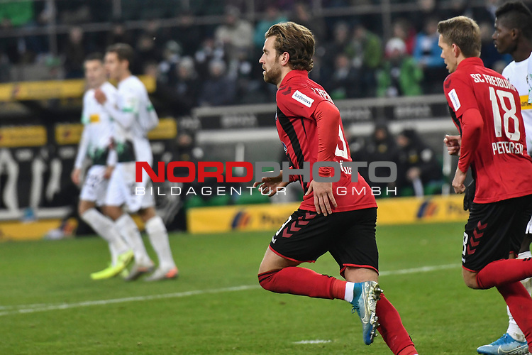 01.12.2019, Borussia-Park - Stadion, Moenchengladbach, GER, DFL, 1. BL, Borussia Moenchengladbach vs. SC Freiburg, DFL regulations prohibit any use of photographs as image sequences and/or quasi-video<br /> <br /> im Bild Lucas Höler / Luca Hoefler (#9, SC Freiburg) jubelt nach seinem Tor zum 3:2<br /> <br /> Foto © nordphoto/Mauelshagen
