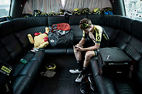 Luke Durbridge (AUS/Mitchelton-Scott) in the back of the teambus at the race start in Tarbes<br /> <br /> Stage 14: Tarbes to Tourmalet (117km)<br /> 106th Tour de France 2019 (2.UWT)<br /> <br /> ©kramon