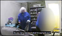 BNPS.co.uk (01202 558833)Pic: DorsetPolice/BNPS<br /> <br /> CCTV stills from footage of Susan Hind mistreating a dementia sufferer.<br /> <br /> A carer who subjected a 78-year-old dementia sufferer to &quot;cruel&quot; and &quot;degrading&quot; treatment today faces jail after she was caught on CCTV cameras installed by the woman's daughter.<br /> <br /> Susan Hind, 69, subjected vulnerable Martha Davison to abuse, threats, mockery and undignified acts, calling her a &quot;dirty bitch&quot; and pushing a bag of soiled clothes close to her face at her home in Bournemouth, Dorset.<br /> <br /> As she pleaded guilty to three counts of ill-treatment or wilful neglect of an individual on Thursday, Poole Magistrates were shown multiple clips of CCTV that showed Hind shouting at and degrading the elderly woman.<br /> <br /> Hind held her head in her hands as the footage was shown in which she told the elderly woman she &quot;made her sick&quot; and called her a disgrace and a &quot;dirty, disgusting person&quot;.