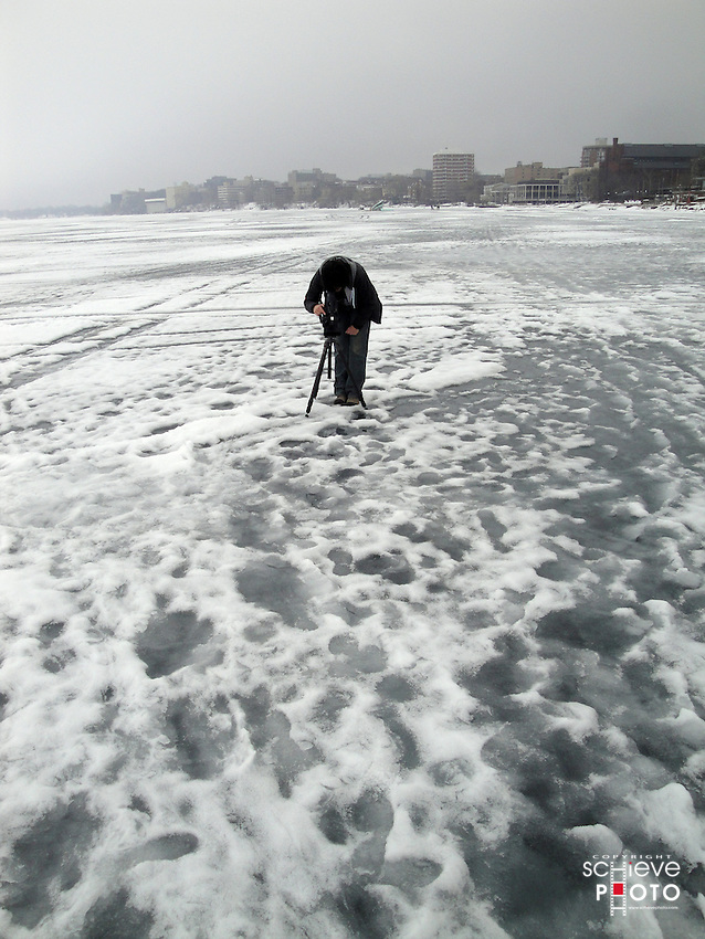 Tweedee Production's Sandy Kowal shooting the ice on Lake Mendota in Madison, Wisconsin.